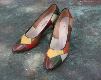Patchwork Pump - Color Blocked -  Circa 1970's -  by Johansen - US Ladies Size 9 or 10