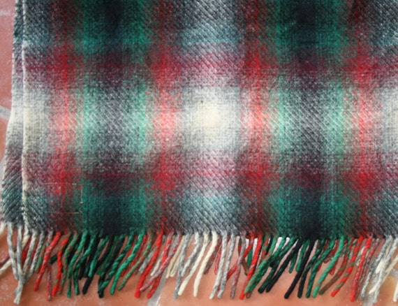 Puddles and Puddles of Plaid   - Hay Ride Snuggler - Wool Plaid Throw - Circa 40-50's