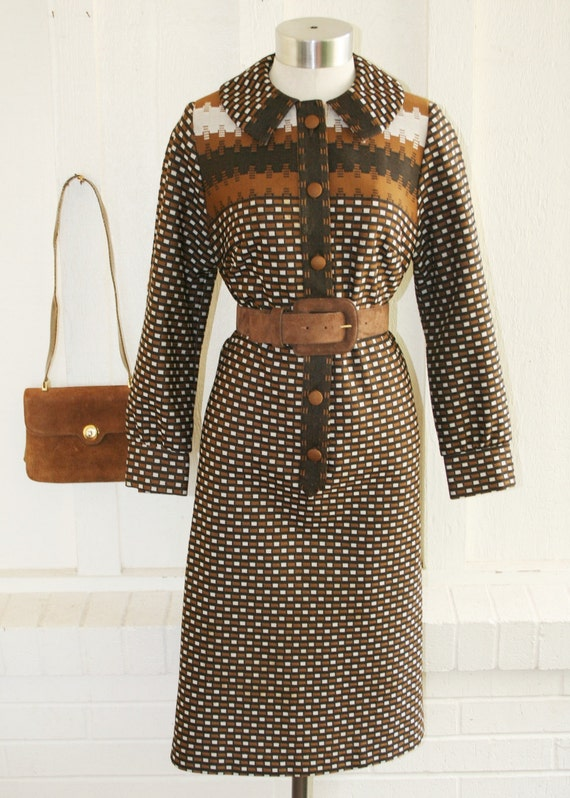 I Use Abusive Managerial Language - circa 70 - Op Art - Black and Brown Day Dress - by Lady Mendel Knits of Distinction