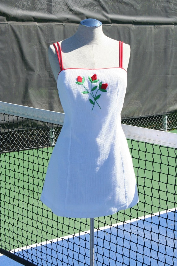 HOLD for Shirley until 07/20 - 40 Love - Vintage Tennis Dress with Red Rose Applique