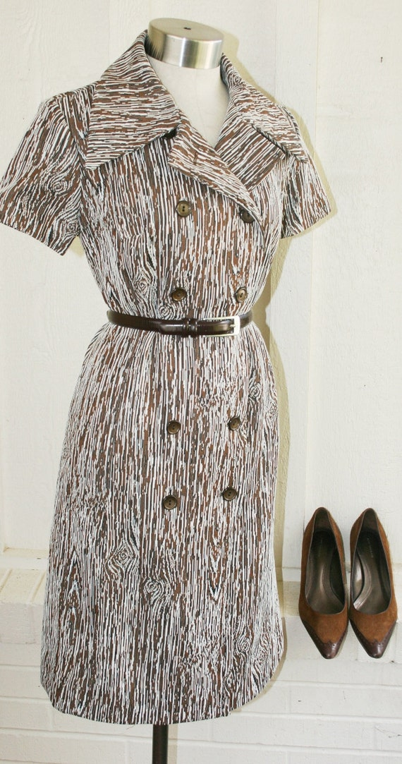 Knot Head - Wood Grain - Polyester Knit - Day Dress - Circa 1970s