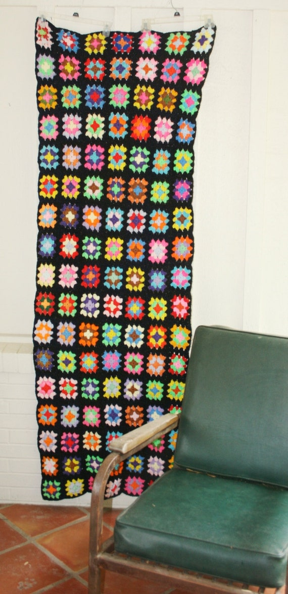 Neon on Black -  Granny Square Afghan - Throw - Circa 1970s