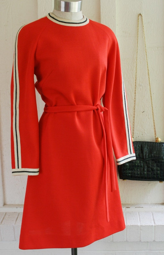 The Avenger - Knit - 1970s- Mod - Sporty - Day Dress - by R and K Knits
