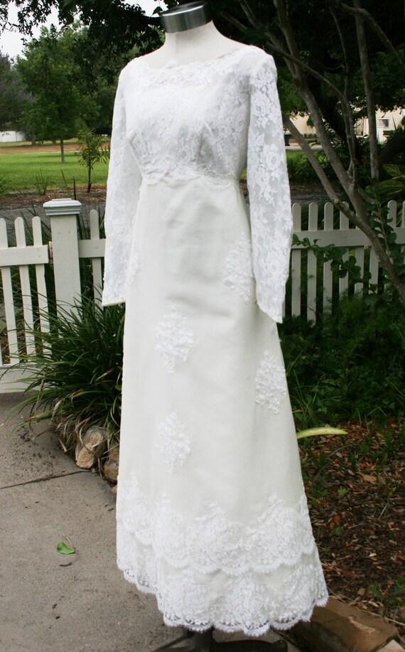Sweet Traditions - Circa 1960's - Wedding Dress - Sheath - Scalloped Lace Hem