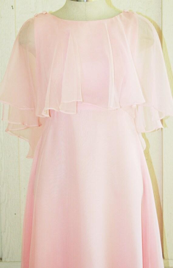 Circa 1970's - Pink  Chiffon Bridesmaid - Prom - Party Dress -  Wedding
