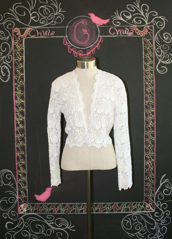 Lacey Layerings -Bright White - Wedding Lace Bolero - Jacket