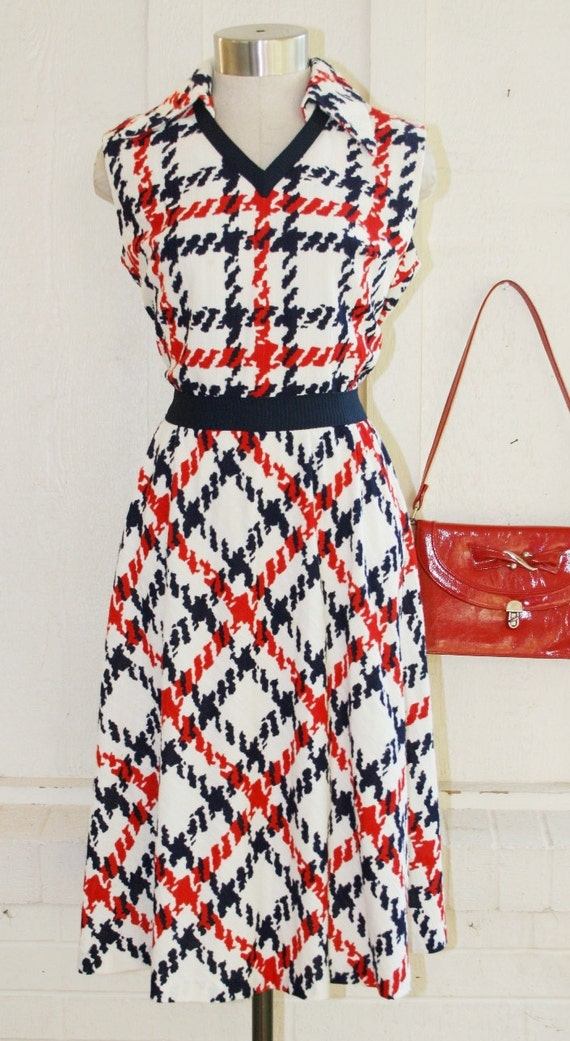 HOLD for Piny until 07/21 - Make'n A Difference -  Circa 1970s - Sporty - Red White and Blue -  Day Dress - by Bleeker Street