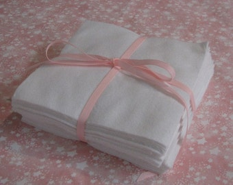 Set of 36 White Flannel Quilt Squares 6 inch Perfect for Crafts and Quilting