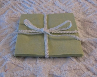Set of 12 Light Green Flannel 6 inch Rotary Cut Squares for Quilts or Crafts