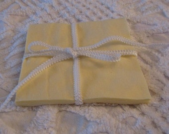 Set of 12 Yellow Flannel 6 inch Rotary Cut Squares for Quilts and Crafts