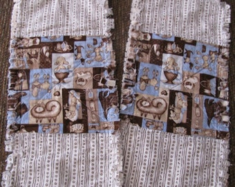 Doggy Burp Cloths in blue & brown -- Set of 2