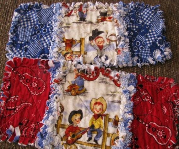 COWBOY Baby Rag Quilt Burp Cloths with Red & Blue Bandana fabric