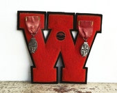 Vintage Letter W High School Letter with Ribbon Medal Pins, orange chenille with navy blue
