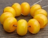 Lemon Yellow encased with clear - 10 handmade lampwork beads