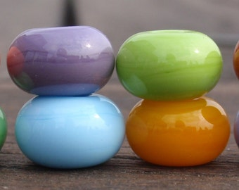 8 bigger Spacer Beads - Handmade Lampwork