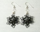Tatted lace Flower earrings jewelry with glass and Hematite -black Dainties -MTO