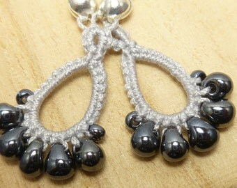 Tatted Lace earrings in Silver -Drips MTO