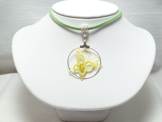 Tatted Lace Butterfly jewelry -spring lemon PIXIE
