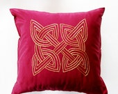 Burgundy Silk Cushion Cover With Gold Celtic Knot on Jim Thompson Silk