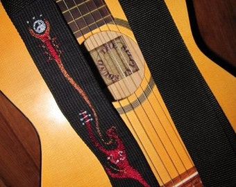 Guitar Strap- Custom Hand Embroidered Feng Shui