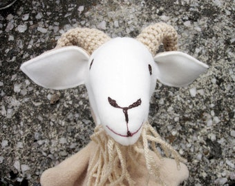Middle Billy Goat Gruff Hand Puppet- Storybook Character Puppet/ Three Billygoats Gruff/ One of a Set/ Handmade Original Design