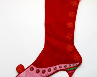 Victorian Lady's Christmas Stocking -Red Whimsical
