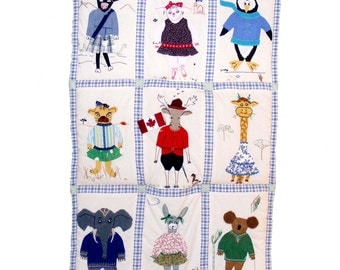 Custom Baby Quilt- Animals of the World in Fancy Dress