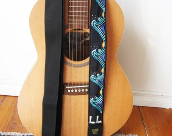 Custom Guitar Strap- Japanese Great Wave of Kanagawa-  Personalized  Hokusai Inspired Music Strap