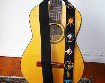 Siouxian Motif Guitar Strap- Custom Hand Embroidered with Initials- Oglala Sioux/Native Mandala/Tribal