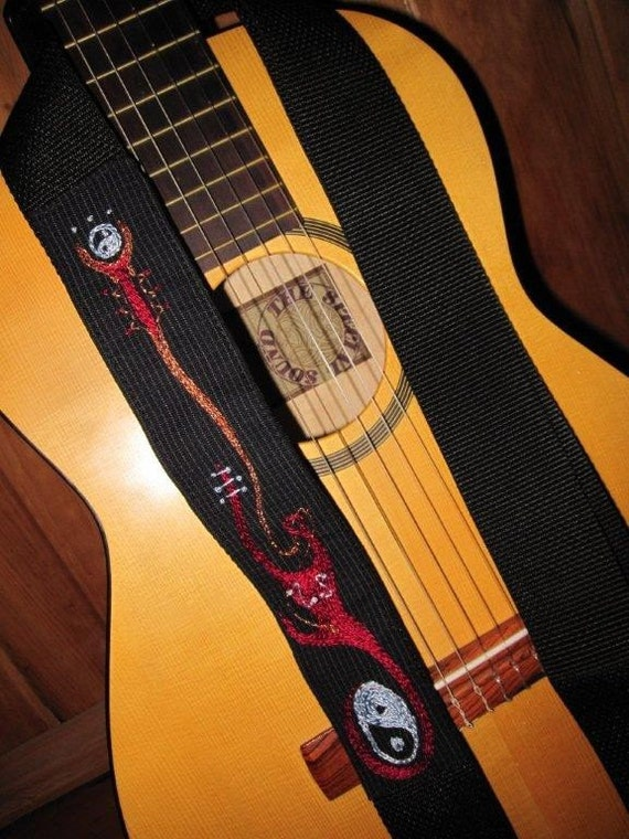 Guitar Strap- Custom Hand Embroidered Feng Shui/Stylized Guitar Strap/Yin Yang Music Strap