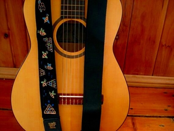 CUSTOM Guitar Strap-  Bumblebees and Honeycomb- Hand Embroidered personalized Music Strap/ Made to Order/ Bees and Bugs