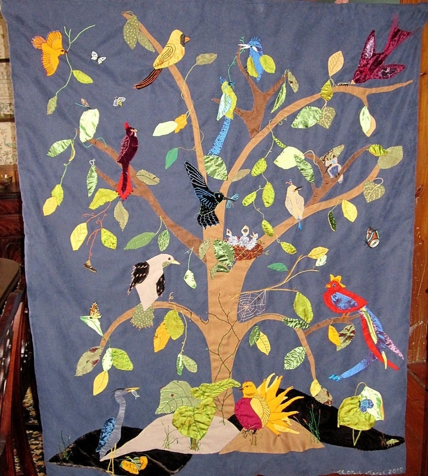 Custom Wall Hanging Textile Art Tree Of Birds By Meoneil