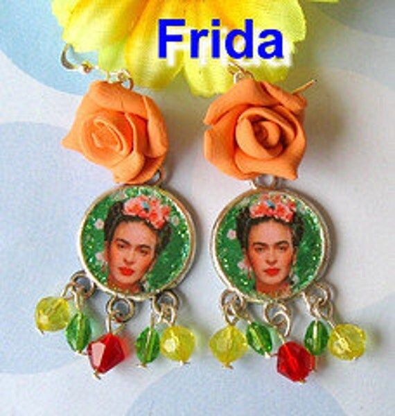 FRIDA Kahlo earrings Gypsy ROSES day of the dead Dia de los Muertos mexico folk art Tribal collector aretes