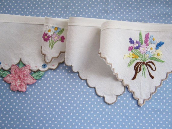Vintage Linen Bunting - Garlands made from Vintage embroidered napkins, its 3m long from Bunting Boutique