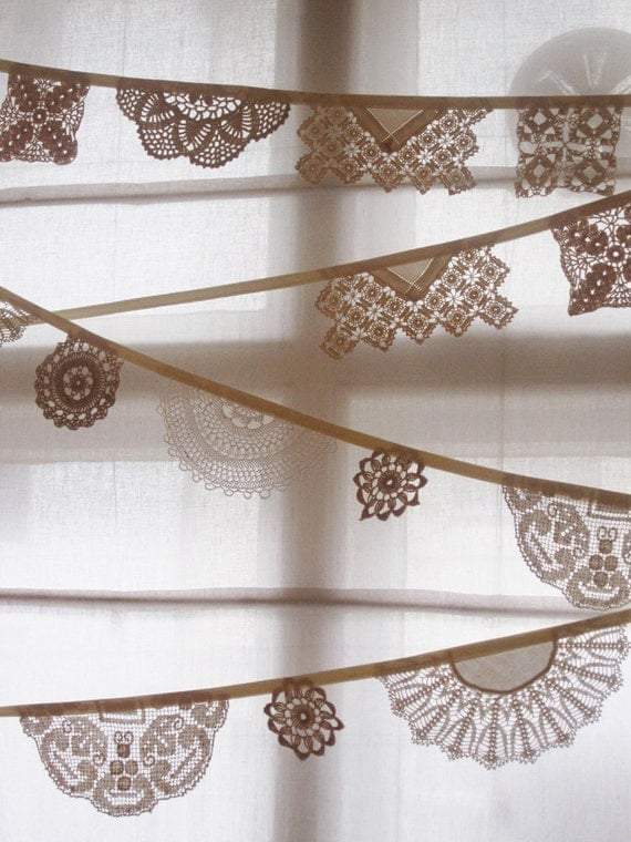 Vintage Linen Bunting - Garlands made from Vintage Linen Coasters and Doilys, its cream and beige and is 3m long from Bunting Boutique