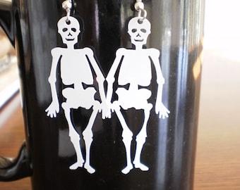 Dangling Dancing Skeleton Earrings