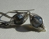 Herringbone Wrap Silver Earrings with Blue Agate