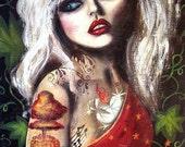 ATOMIC aka Heart Of Glass big eye tattooed Debbie Harry giclee  CANVAS Print by Nina Friday