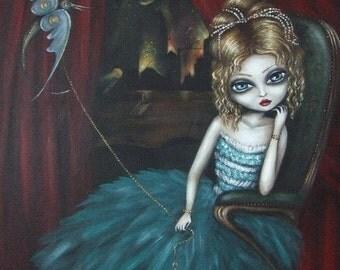 KEY KEEPER big eye fairy gothic victorian  lowbrow  stretched CANVAS print by Nina Friday