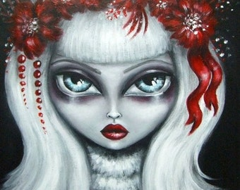 BIANCA big eye gothic victorian blond girl in white/ ruby red flowers stretched CANVAS print Nina Friday