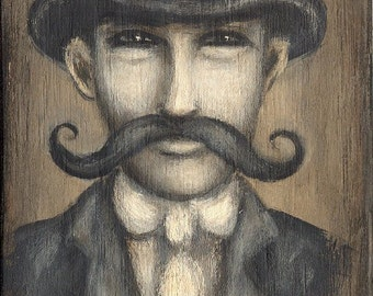 NICE MUSTACHE vintage inspired sepia big mustache man giclee  PRINT by Nina Friday