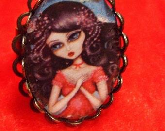 HOPE big eye praying  fairy adjustable RING by Nina Friday