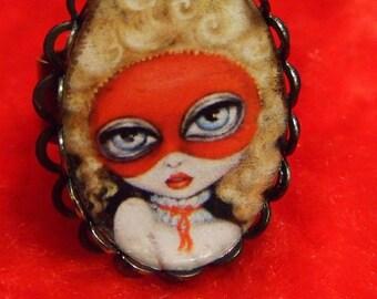 GAMES 2 Marie Antoinette mascarade big eye Victorian flirt adjustable RING by Nina Friday