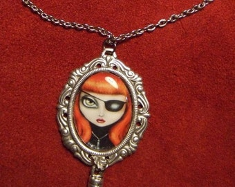 IT'S ON big eye lowbrow gothic steampunk determined redhead with bullet necklace by Nina Friday