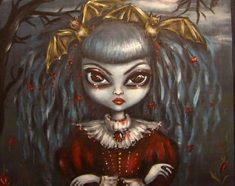 BATTY and BLOODFLOWERS halloween vampire big eye girl with bats giclee stretched CANVAS print by Nina Friday