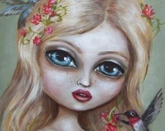 SWEET PEA big eye Victorian girl with hummingbirds   giclee PRINT by Nina Friday