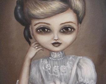 LABIRDA vintage inspired Victorian big eyed lady with a bird  CANVAS print by Nina Friday