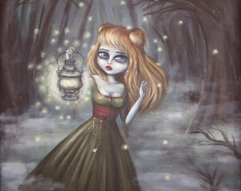 FINDING the PATH gothic Victorian big eye girl in the woods     giclee print by Nina Friday