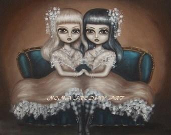 TWINS 2  big eye gothic victorian siamese twins giclee PRINT by Nina Friday