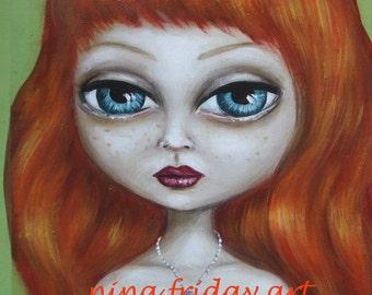 LOST  big eye redhead sad nude girl with key  GICLEE print by Nina Friday